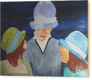 Wood Print featuring the painting Chapeaux Trois by Sandy McIntire