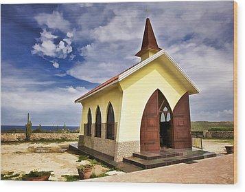 Chapel By The Sea Wood Print