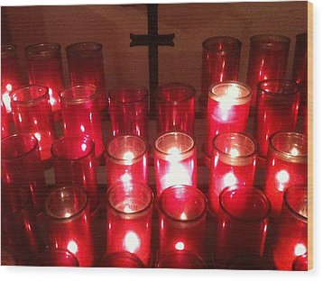 Chapel Candles Wood Print by Tina Nies