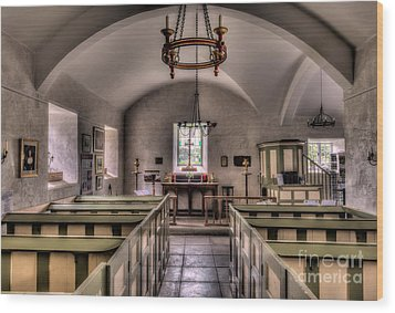 Chapel In Wales Wood Print by Adrian Evans