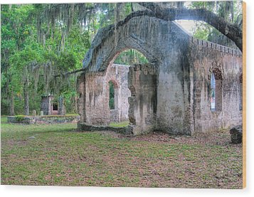 Chapel Of Ease With Tomb Wood Print