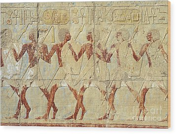 Wood Print featuring the relief Chapel Of Hathor Hatshepsut Nubian Procession Soldiers - Digital Image -fine Art Print-ancient Egypt by Urft Valley Art