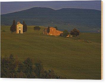Chapel On A Hillside Wood Print by Andrew Soundarajan