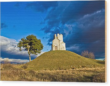 Chapel On Green Hill Nin Dalmatia Wood Print by Brch Photography
