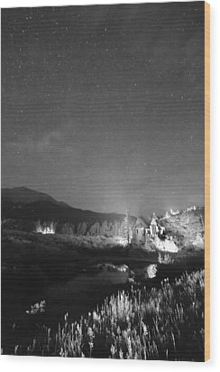 Chapel On The Rock Stary Night Portrait Bw Wood Print by James BO  Insogna