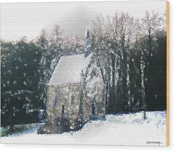 Chapel Under Snow Wood Print by Christian Simonian
