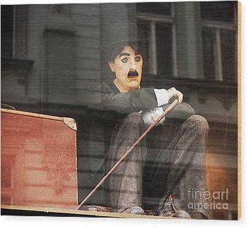 Chaplin In Prague Wood Print by John Rizzuto