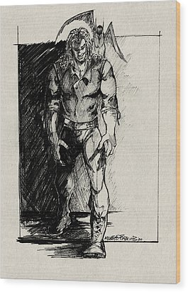 Character Sketch Wood Print by Michele Engling