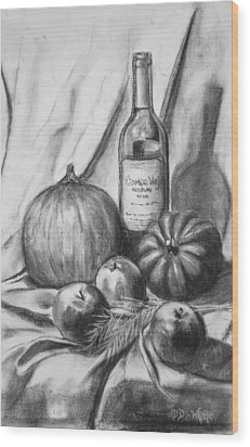 Wood Print featuring the drawing Charcoal Still Life Harvest by Dee Dee  Whittle