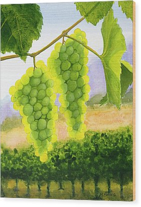 Chardonnay Grapes Wood Print by Mike Robles