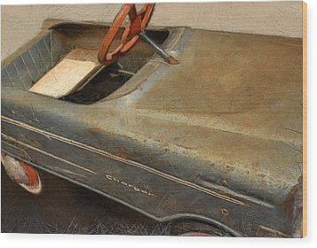 Charger Pedal Car Wood Print by Michelle Calkins