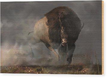 Charging Bison Wood Print by Daniel Eskridge