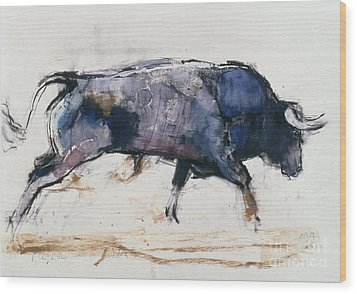 Charging Bull Wood Print by Mark Adlington