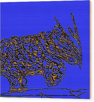 Charging Rhino Wood Print by Jamie ian Smith