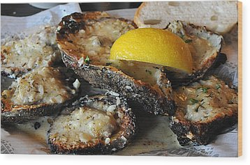 Chargrilled Oysters Wood Print