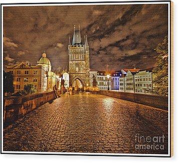 Charles Bridge At Night Wood Print