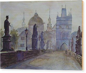 Charles Bridge Prague Wood Print by Xueling Zou