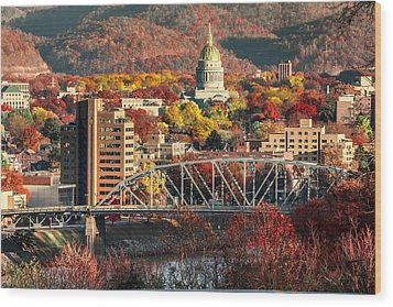 Charleston And Wv Capitol Wood Print by Mary Almond