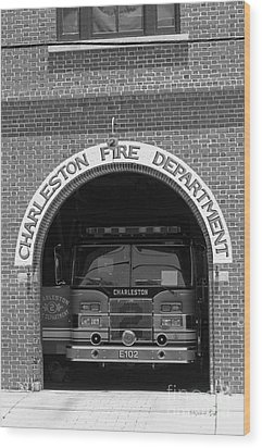 Charleston Fire Department - Black And White Wood Print by Suzanne Gaff