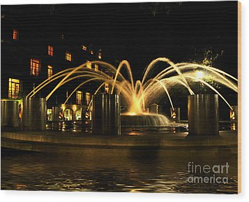 Wood Print featuring the photograph Charleston Fountain At Night by Kathy Baccari