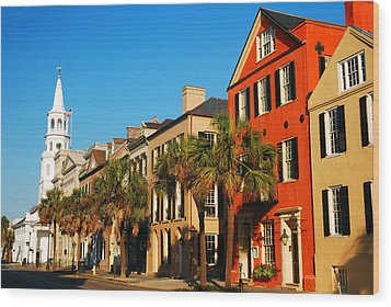 Charleston Painted Row Wood Print