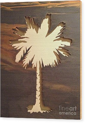 Charleston Palmetto Wood Print by M West