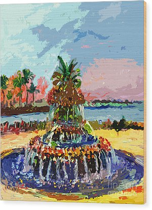 Charleston South Carolina Pineapple Fountain Painting Wood Print by Ginette Callaway