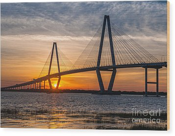 Charleston Sun Setting  Wood Print