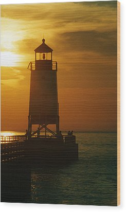 Charlevois Sunset Wood Print