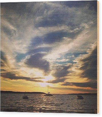 Charlevoix Sunset Wood Print by Christy Beckwith