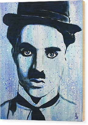Wood Print featuring the painting Charlie Chaplin Little Tramp Portrait by Bob Baker