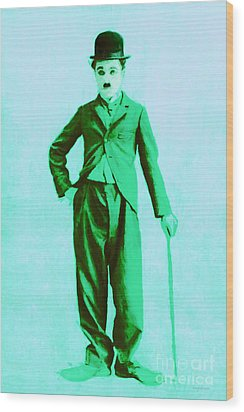 Charlie Chaplin The Tramp 20130216m150 Wood Print by Wingsdomain Art and Photography