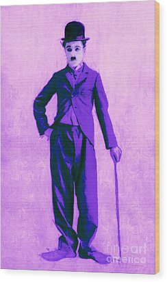 Charlie Chaplin The Tramp 20130216m40 Wood Print by Wingsdomain Art and Photography