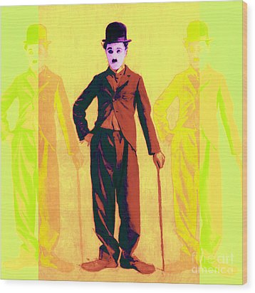 Charlie Chaplin The Tramp Three 20130216p30 Wood Print by Wingsdomain Art and Photography
