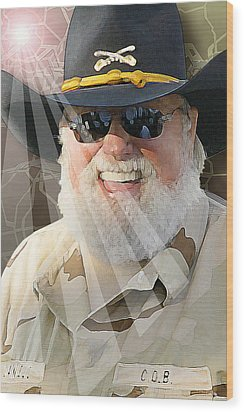 Wood Print featuring the digital art Charlie Daniels by Don Olea