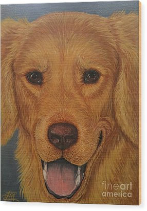 Charlie Golden Wood Print