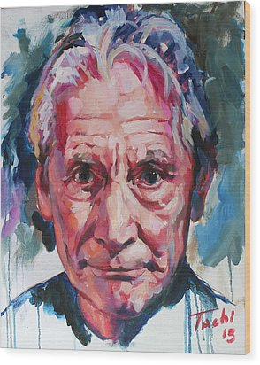 Charlie Watts Wood Print by Tachi Pintor