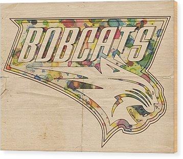 Charlotte Bobcats Vintage Poster Wood Print by Florian Rodarte