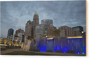 Charlotte City Lights Wood Print by Serge Skiba