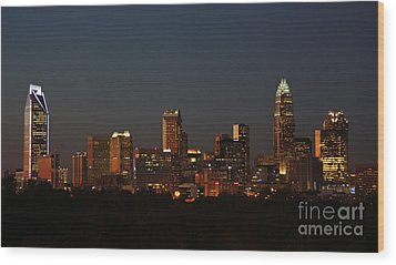 Charlotte City Skyline At Sunset Wood Print by Kevin McCarthy