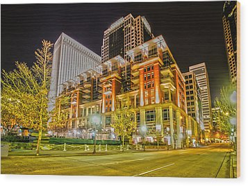 Charlotte City Skyline Night Scene Wood Print by Alex Grichenko