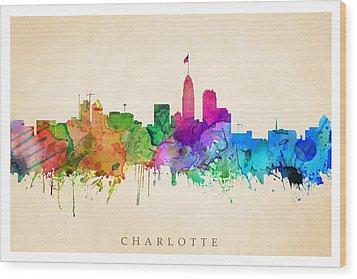 Charlotte Cityscape Wood Print