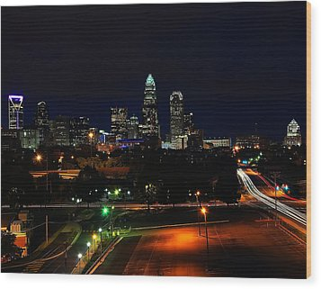 Charlotte Nc At Night Wood Print