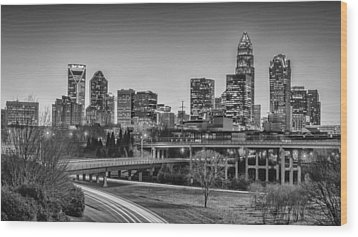 Charlotte Sunset Black And White Wood Print by Brian Young