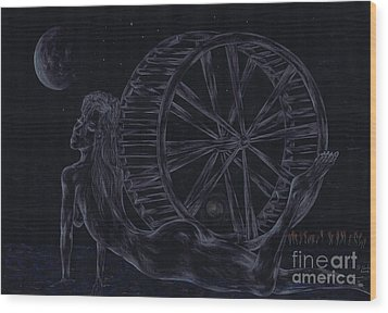 Wood Print featuring the drawing Charm Of The Moon. by Kenneth Clarke