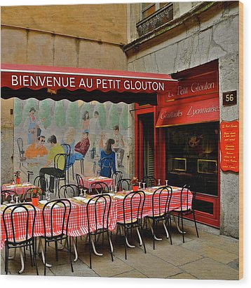 Charming French Outdoor Cafe Wood Print by Kirsten Giving
