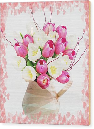 Charming Heart Tulips Wood Print by Debra  Miller