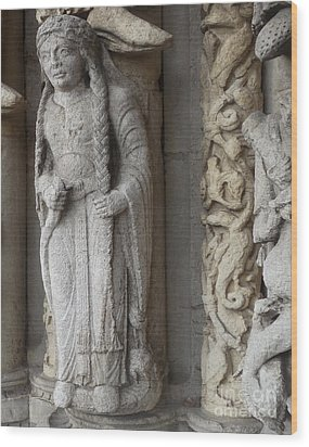 Wood Print featuring the photograph Chartres Cathedral Female Pilgrim by Deborah Smolinske