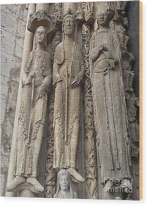 Wood Print featuring the photograph Chartres Cathedral Saints by Deborah Smolinske