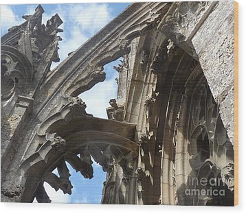 Wood Print featuring the photograph Chartres Flying Buttress by Deborah Smolinske